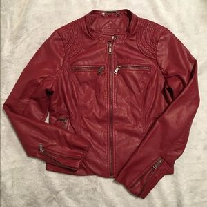 Red faux leather Moto jacket